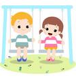 kid play swing vector image vector image