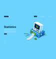 landing page statistics and data analysis vector image vector image