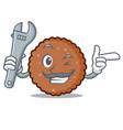 mechanic chocolate biscuit mascot cartoon vector image vector image