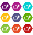medical bag icon set color hexahedron vector image vector image
