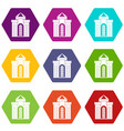medieval palace icon set color hexahedron vector image vector image