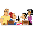 meeting friends cartoon vector image vector image