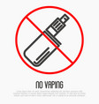 no vaping thin line icon no smoking area vector image