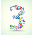 Number 3 colored font from numbers vector image