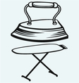 Old iron and ironing board vector image vector image