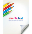 paper sheet with the corner and colored penciles vector image vector image