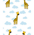 pattern with cartoon giraffe in clouds vector image vector image