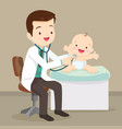 pediatrician doctor examining little baby vector image vector image