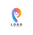 people logo letter p design and template vector image