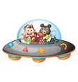 Playful animals inside the saucer vector image vector image