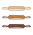 realistic 3d wooden rolling pin icon set vector image vector image