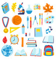 school and education items set supplies and vector image
