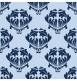 seamless baroque blue leaves scrolls background