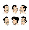 set of emotions of a young cartoon man on a white vector image vector image