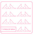 set of female bras icons in line art style vector image