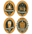 set oval beer labels in retro style vector image vector image
