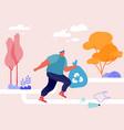 sportsman character plogging in park concept vector image vector image