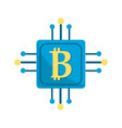 square with circuit connection and botcoin symbol vector image vector image