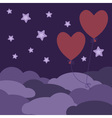 Two red balloons flying in the night sky vector image