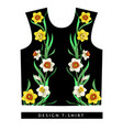 typographical print for t-shirt with daffodils vector image vector image