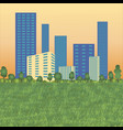 urban landscape with high skyscrapers trees and g vector image vector image