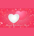 valentines day greeting card with two hearts vector image vector image
