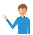 young man waving happy avatar character vector image