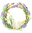 floral wreath with spring flowers botanical vector image