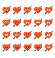 big set funny cartoon heart character emotions set vector image
