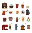 Coffee symbols set cup icons vector image