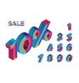 10 percent sale 0 1 2 3 4 5 6 7 8 9 isometric vector image vector image