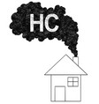 artistic drawing of smoke coming from house vector image vector image
