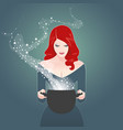 beautiful retro styled red-haired girl holding a vector image