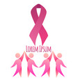 breast cancer awareness pink ribbon with dancing vector image vector image