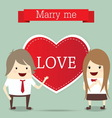 business man and woman with red heart married wedd vector image vector image
