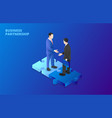 businessman handshake on puzzle partnership vector image vector image