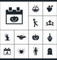 calendar with pumpkin icon halloween set simple vector image