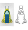 childish cute bag in form a roket for trips vector image vector image