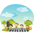 Children crossing street vector image vector image
