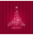 Christmas Tree on a Striped Pink Background vector image