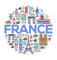country france trip guide of goods places in thin vector image vector image