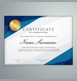 elegant white and blue certificate diploma vector image vector image