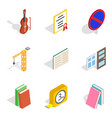 exam paper icons set isometric style vector image