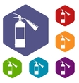 Fire extinguisher icons set vector image vector image
