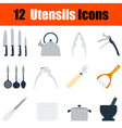 Flat design utensils icon set vector image