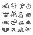 food delivery icons on white background vector image vector image