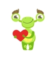 Funny Monster Smiling Holding Red Heart Green vector image vector image