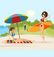 girls on the beach vector image vector image