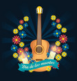 guitar with candles and flowers to day of the dead vector image vector image
