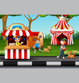 happy people having fun in an amusement park vector image vector image